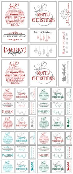 Free Printable Holiday Gift Tags - Perfect for Christmas in Your Choice of Colors via Belvedere Designs Blog #christmasprintables #freechristmasprintables #christmascards #christmasgifttags #printablechristmascards #printablechristmasgifttags #christmaspapercrafts