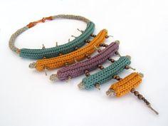 Crochet necklace,tribal necklace,statement necklace,fiber necklace,knit…