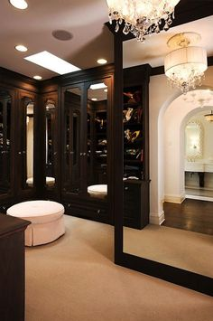 The wooden aspects makes this closet so elegant.