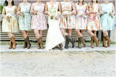 Dallas wedding photographer, bridal party pictures, colorful flower patterned bridesmaid dresses, bridal party cowboy boots, McKinney Flour Mill Wedding » Mary Fields Photography