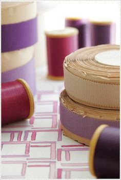 Lovely old grosgrain ribbon in shades of purple.