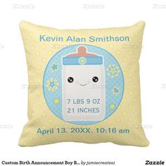 #Custom #Birth #Announcement #Boy #Baby Throw Pillow @zazzle