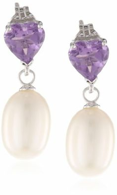 7-7.5mm Freshwater Cultured White Teardrop Pearl and 6mm Heart Shape Amethyst Sterling Silver Dangling Earrings (1.10 cttw) Amazon Curated Collection,http://www.amazon.com/dp/B00CD324KQ/ref=cm_sw_r_pi_dp_6A-isb0G35TVFDS6