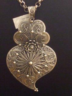 Sterling silver Portuguese filigrana heart pendant