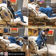 Here are a few ways to use hospital beds to help your baby progress during labor. What a great visual! Be encouraged and use the room in whatever way suits you.transform that bed ☺️ Photo credit: Pregnancy Labor, Pregnancy Workout, Prenatal Workout, Labor Positions, Babyshower, Baby Life Hacks, Birth Photos, Labor Photos, Women Health