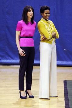Samantha Cameron, wife of British Prime Minister, David Cameron, and Michelle Obama --- Their outfits are all kinds of wonderful. Samantha Cameron, David Cameron, Michelle Obama Fashion, Barack And Michelle, Working Woman, Greatest Hits, Celebrity Style, Cool Outfits, First Ladies