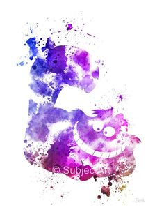 Alice in Wonderland, Cheshire Cat ART PRINT illustration, Disney, Fantasy, Mixed…