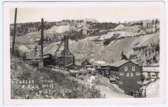 CRESSON MINE & BULL HILL IN VICTOR, COLORADO - Real Photo Postcard