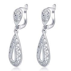Women s Fashion 18K White Gold Hollow Out Wedding Drop Stud Earring Bridal  Jewelry (Color  White gold 963f53699b5f