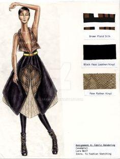 Fabric Project example 3 by larawolf Fashion Illustration Portfolio, Fashion Design Sketchbook, Fashion Design Portfolio, Fashion Illustration Dresses, Fashion Design Drawings, Fashion Sketches, Fashion Books, Fashion Art, Mode Inspiration