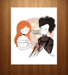 'Hold Me.'  'I Can't.' Edward Scissorhands Print.