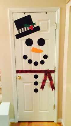 Snowman Door More Christmas Decorations Christmas Door Christmas Classroom Door, Christmas Snowman, Simple Christmas, Snowman Door, Family Christmas, Diy Snowman, Rustic Christmas, Beautiful Christmas, Snowmen