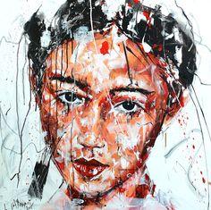 Lucile Callegari / T223 / Acrylique et fusain sur toile, 80x80cm, 2015.