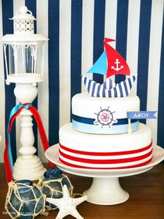 Preppy Nautical Birthday Party with DIY ideas on decorations, printables, food and favors - Great red, white and blue 4th of July or memorial day. #4thofjuly #redwhiteblue #nautical #nauticaldecor #nauticaltablescape Holiday Party Themes, Party Themes For Boys, Party Ideas, Diy Ideas, Ideas Para, Food Ideas, Summer Birthday, 1st Birthday Parties, Birthday Ideas