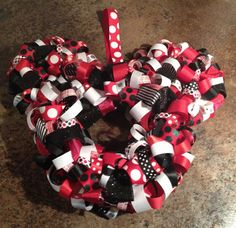 Mickey Mouse or Minnie Mouse Ribbon Wreath. Great for events & room decor...disney themed showers, weddings, photo shoots, birthdays etc... on Etsy, $35.00