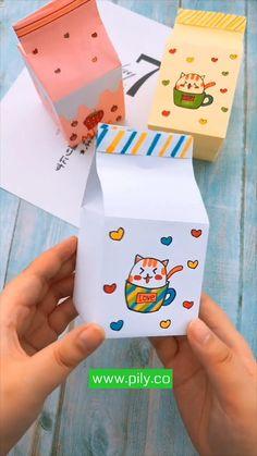 Cool Paper Crafts, Paper Crafts Origami, Cute Crafts, Diy Crafts Hacks, Diy Crafts For Gifts, Creative Crafts, Instruções Origami, Origami Videos, Oragami