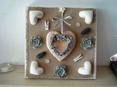 Cadre 3D coeur gris et roses grises  déco création