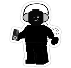 """""""Minifig with Headphones & iPod by Customize My Minifig"""" Stickers by ChilleeW 