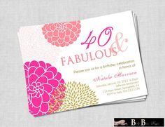 40 and Fabulous 40th or 50th Birthday Invitation- Pink & Gold Printable on Etsy, $14.08 AUD
