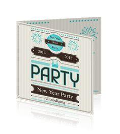 Leuke uitnodiging feestkaarten voor een nieuwjaarsparty of feest.