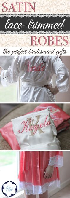 """Add a touch of elegance to your big day or a special occasion. These lace-trimmed robes make the perfect bridesmaid gifts and make for the most adorable getting-ready photos! Choose from a variety of colors. Order now and take 10% off your entire order with coupon code """"lifematters"""""""