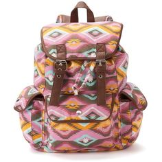 Candie's Anna Aztec Backpack (Pink) ($24) ❤ liked on Polyvore featuring bags, backpacks, backpack, pink, brown bag, drawstring bag, aztec pattern backpack, shoulder bags and pattern backpack