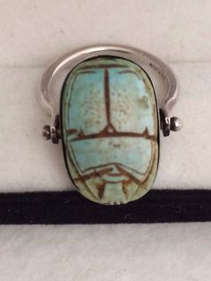 Ancient Faience Scarab Beetle Egyptian Set in by TrendsCouture, $145.00