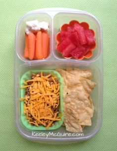 Lunch Made Easy: Tacos for Her, Nachos for Me! Leftovers = Lunches  @EasyLunchBoxes