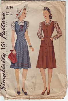 Simplicity 3714 Misses Princess Seam Square Neck Dress Jumper and Blouse Mother Daughter Fashion womens vintage sewing pattern by mbchills 1940s Fashion, Vintage Fashion, Mother Daughter Fashion, Patron Vintage, Vintage Jumper, Vintage Dress Patterns, Clothing Patterns, 20th Century Fashion, Mode Vintage