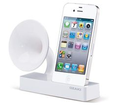iPhone dock with retro speaker amps the sound if you dont want it to be loud