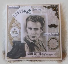 Connie`s lille verden James Dean, Card Sketches, Personalized Items, Boys, Cards, Baby Boys, Children, Maps, Senior Guys