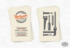 Business card design for McPherson Construction located in Belleville, ON, Canada. The logo has a retro style, script typeface and saw blade that surrounds. Business card utilizes simple tool icons on one side with an assortment of typography for the information portion. Designed by Milwaukee branding Graphic Designer Chris Prescott. | cprescott.com & https://www.facebook.com/designerchrisprescott/