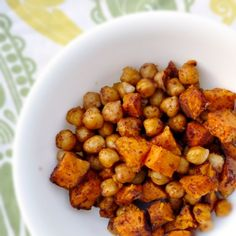 Roasted Sweet Potatoes & Chickpeas!! The two best things mixed together!! Perfect dish!