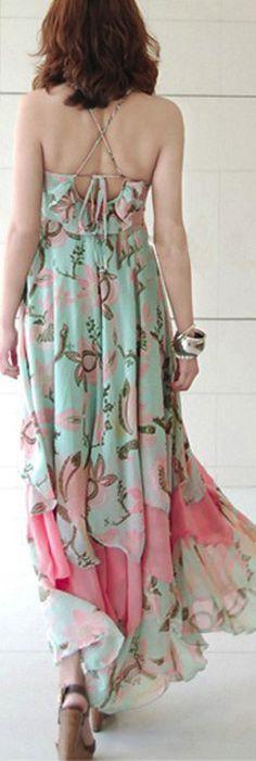 Bohemian Chiffon Dress  Beach Skirt