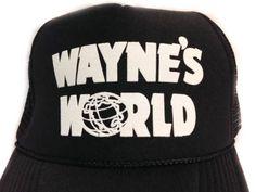 fda17476124 Wayne s World Hat Trucker hat Mesh Hat Snap Back Hat black Priority mail.  Etsy