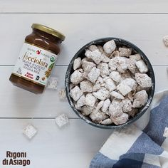 It's a classic. Enjoy some delicious Nocciolata Puppy Chow! Just mix 4 1/2 cups chex, 1/4 cup peanut butter, 2 tbsp butter, 1/2 cup Nocciolata, 1/2 tsp vanilla and 3/4 cup powdered sugar.