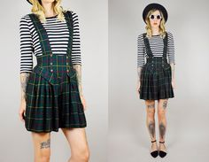 From our Noir Ohio Collection / 80s high waist tartan plaid school girl jumpsuit romper