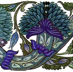 """Morris & Co. Blue Peony tile by William De Morgan. This tile set comes from De Morgan's Persian era. Both Morris and De Morgan had a strong interest in Persian tiles. These 6"""" tiles are seamless on the horizontal"""