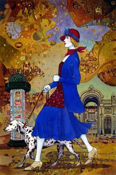 Woman with Dalmation ~ by Helen Lam, Chinese-born Canadian Painter whose work is inspired by the Art Deco Era .....