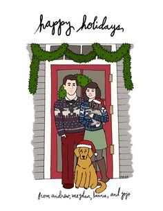 Custom Illustrated Holiday Card Digital File by roaringsoftly, $175.00