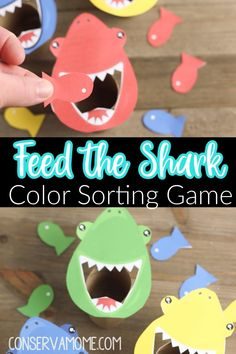 Feed the Shark Color Sorting Game: Free Printable Ocean themed Learning Activity
