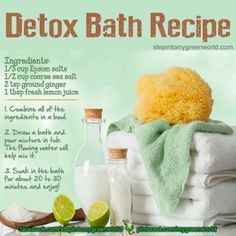 Almost 2 years ago I copied the info from Tired of Lyme's Detox page here. But it looks like it's been updated to add some different thing so. Here's TOL's Detox part And once again. Detox Bath Recipe, Bath Detox, Detox Bath For Stress, Health And Beauty Tips, Health Tips, Health And Wellness, Health Fitness, Health Care, Beauty Advice