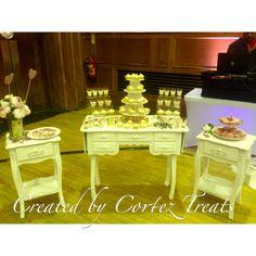 Cortez Treats wedding dessert table! Search for the video on our Instagram page 🎥 CortezTreats #dessert #desserttable #cheesecake #cake #wedding #sweettooth #weddingcake #weddingfavor #sweets #vanilla #chocolate #cupcakes #flowers #cakestagram