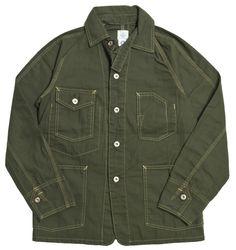 Post Overalls Olive OD Cotton Herringbone Engineers Jacket | Lost & Found