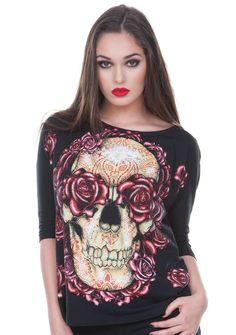 Skulls And Roses Pullover from Jawbreaker. This knit pullover features a skulls and roses print on the front. It has 3/4 length sleeves, a scoop neck and is made with Elastane for a very comfortable f