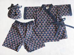 Navy Red Japanese Print Cotton Jinbei Set Kimono by SpurTheMoment