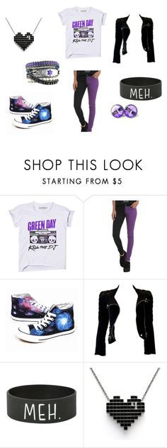 """""""Purple and Black Green Day for my BFF <3"""" by the-light-behind-your-eyes ❤ liked on Polyvore featuring Converse and Balmain"""