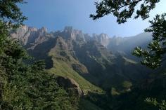 Escarpment cliffs in the Drakensberg Mountains, Africa.