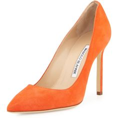 Manolo Blahnik BB Suede 105mm Pump ($630) ❤ liked on Polyvore featuring shoes, pumps, heels, orange, heels & pumps, orange shoes, pointed-toe pumps, suede pointed toe pumps and suede slip on shoes