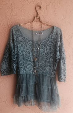 Gorgeous hand dyed blue silk and lace tunic romantic by BohoAngels, $85.00